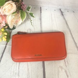 Fossil Orange Leather Wallet Full Size Distressed